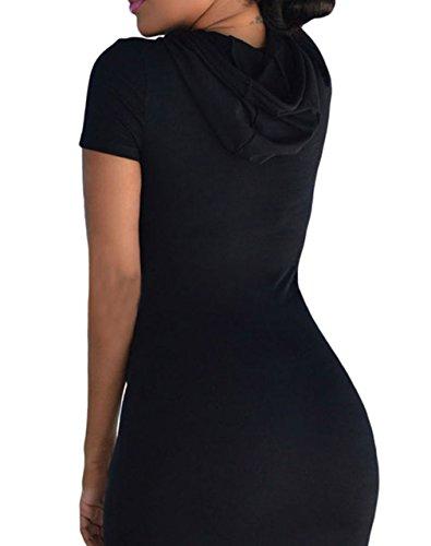 EOZY Noir Robe Hoodies Sweat à Capuche Multi-Color Moulant Casual Dress