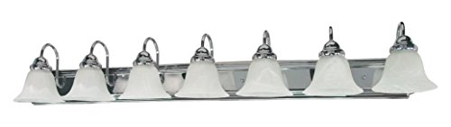 Ballerina - 7 Light - 48In. - Vanity - W/ Alabaster Glass Bell Shade