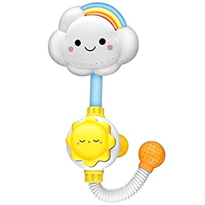 Aisheny Cloud Rainbow Baby Shower Bath Toy Kids Toddler Bathtub Water Spray Bathing Toy Plastic White : Baby