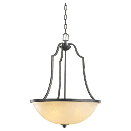Sea Gull Lighting 65521-845 Pendant with Creme Parchment Glass Shades, Flemish Bronze Finish -