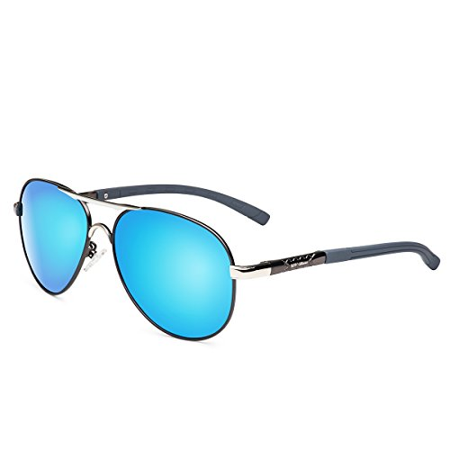 UV-BANS Mens Womens Aviator Sunglasses Polarized UV400 Blue Mirror Lens,Classic Ultralight Unbreakable Frame for Fishing - Blue Aviator Sunglasses Mirror