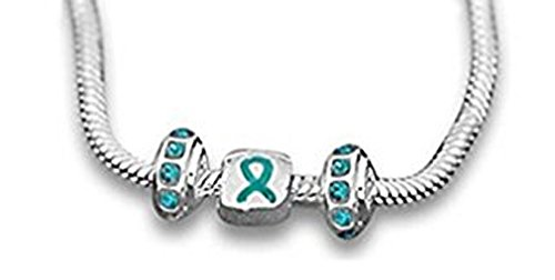 Ovarian Cancer Awareness Teal Ribbon 3 Charm Pandora-inspired Necklace