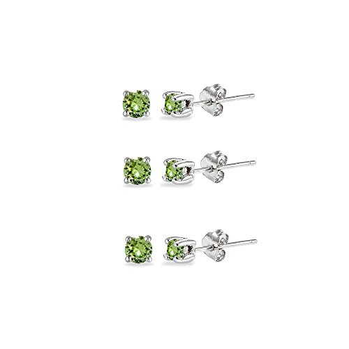 3-Pair Set Sterling Silver Light Green 3mm Round Stud Earrings Made with Swarovski -