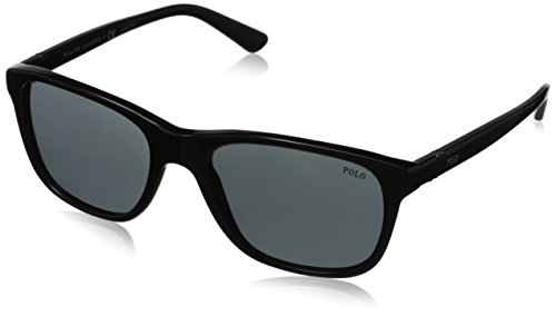 Polo Ralph Lauren Men's 0PH4085 Square Sunglasses, Shiny Black,Gray & Shiny Black, 55 - Sun Lauren Ralph Polo Glasses
