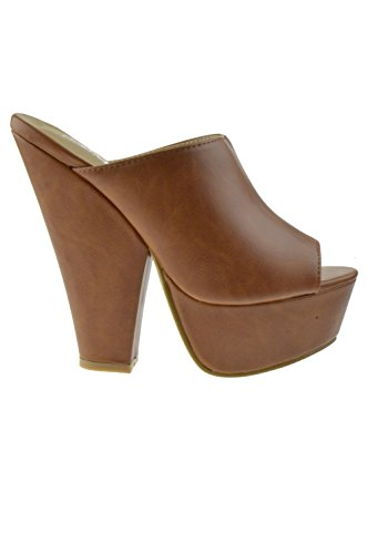 Sandali Peep Toe In Pelle Con Plateau Donna Heather 2 Tan