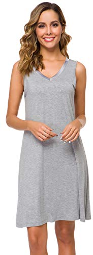 WiWi Bamboo Sleeveless Chemise Nightgowns for Women V Neck Sleep Shirts S-XXXXL(4XL), Heather Grey, 4X-Large