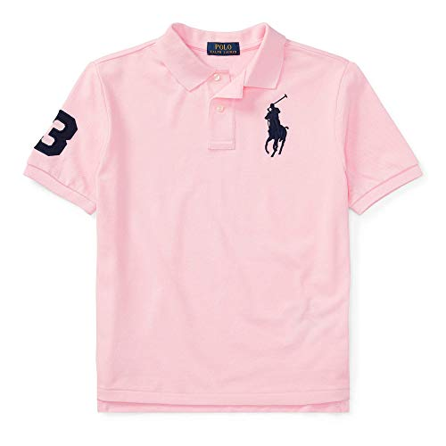 Polo Ralph Lauren Boys Embroidered Pique Polo Shirt (Pink/Black Pony, Small (8))
