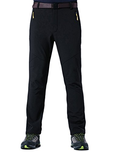 King Shield Men's Windproof Climbing Hiking Pants Soft Shell Pant (US 32, 23#Black) by King Shield