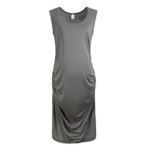 Grow Crib Series (Gritu Women's Sleeveless Side Shirring Waist Maxi Midi Maternity Dress Grey Large)