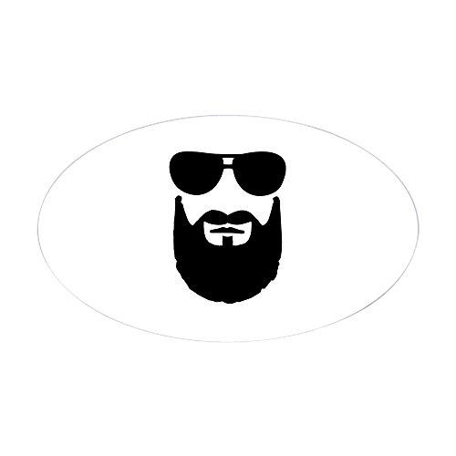 CafePress - Full Beard Sunglasses - Oval Bumper Sticker, Euro Oval Car - Sunglasses Euro