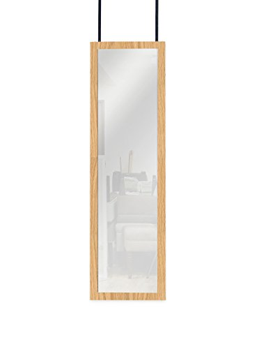ArtMuseKitsMikash Mirrotek Over The Door Wall Mounted Full Length Door Dressing Mirror, Hardware Included, Oak Finish (Closet Doors With Mirrors)