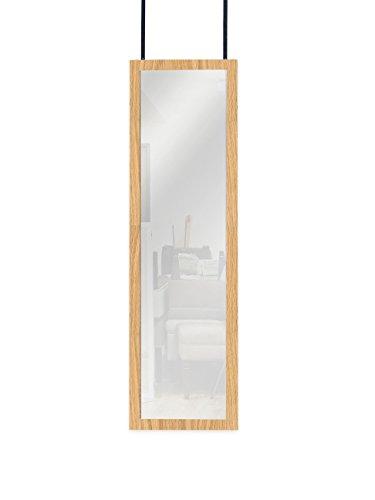 (Mirrotek Over the Door Wall Mounted Full Length Door Dressing Mirror, Hardware Included, Oak)