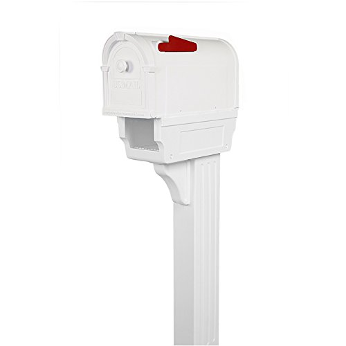 Postal Pro Hampton 7.75-in W x 56-in H Plastic White Ground Mount Mailbox with Post
