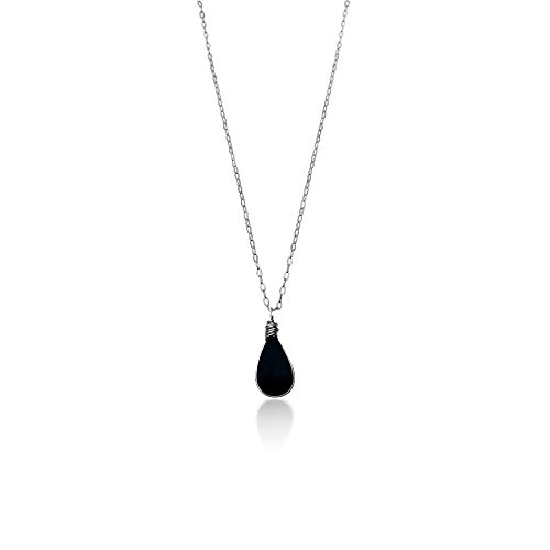 Dainty Necklace with Black Obsidian Stone Teardrop Handmade Pendant and 18 Chain in Sterling Silver: Simple, Modern and Delicate Minimalist Jewelry b…