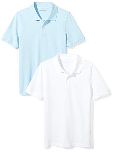 (Amazon Essentials Little Boys' Uniform Pique Polo, Bright White/Light Blue, S (6-7))