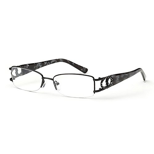 Womens Half Rimmed Circle Crystal Studded Prescription Glasses in Gunmetal - Glasses Rimmed Steel