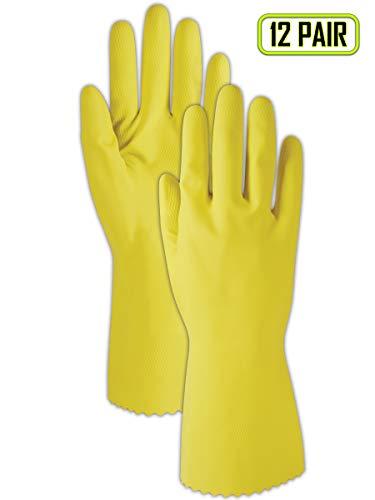 (Magid 626M ComfortFlex 15 Mil Flock-Lined Latex Gloves, Medium, Yellow (12 Pairs))