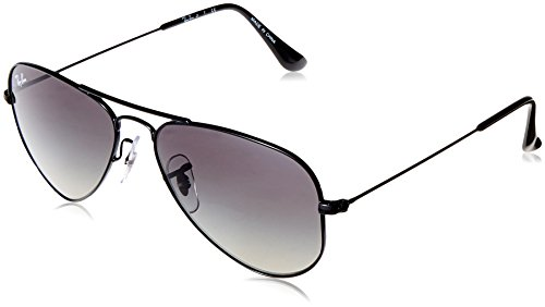 Ray-Ban Junior RJ9506S Aviator Kids Sunglasses, Shiny Black/Grey Gradient, 52 mm