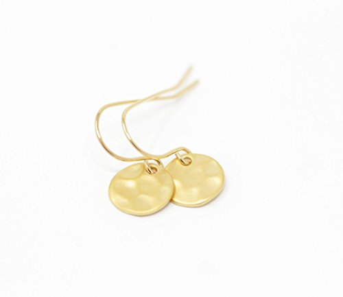 Simple Gold Plated Hammered Disc Earrings (Disc Gold Plated)