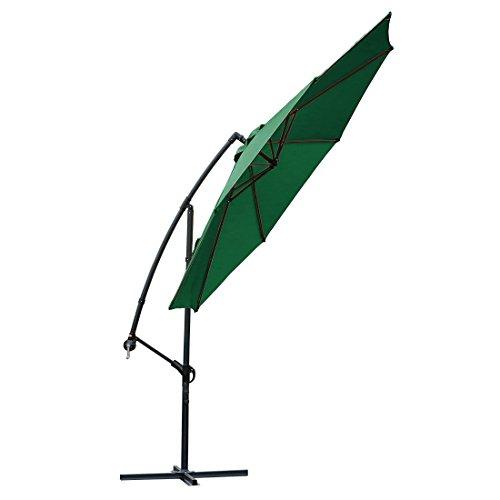 (FARLAND 10 ft Offset Cantilever Patio Umbrella Outdoor Market Hanging Umbrellas & cranks, 8 Ribs (10 ft, Dark)