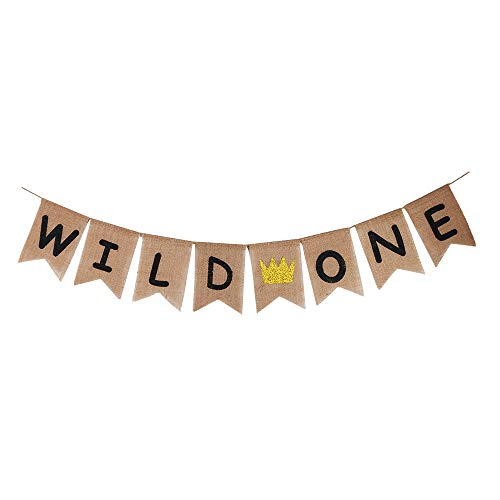 YUINYO Burlap Wild One Birthday Banner - Black Font First Birthday Party Bunting Baby Assembled Already