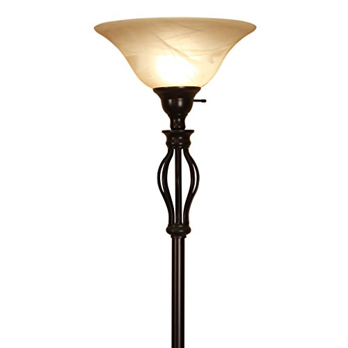 LightAccents, Floor Lamp 70 Inches Height, Traditional Iron Scrollwork Bronze Floor Lamp with Amber Glass Shade - Amber Rustic Floor Lamp