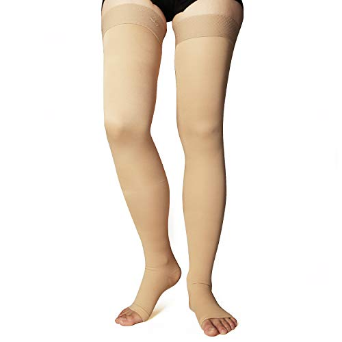 +MD Thigh High Graduated Compression Stockings Open-Toe 23-32mmHg Firm Medical Support Socks for Varicose Veins, Edema, Spider Veins Thin NudeM