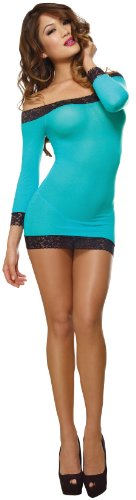 Dress Sexy Adult Lingerie (Dreamgirl Women's Stretch Mesh Dress, Turquoise/Black, One)