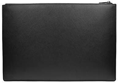 Laptophülle 13 Zoll Case Tasche für MacBook Air 13.3 & Galaxy Book S - Dokumentenmappe Kunstleder schwarz
