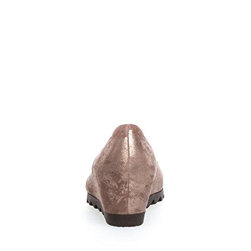 Gabor 75.320-63 Damen Keilpumps samtigen Veloursleder Lederinnensohle -Futter taupe/metallic