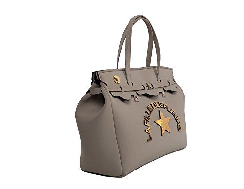 Shopping bag in neoprene LA FILLE DES FLEURS BORSA big jackie FANGO 36x42x17 �?