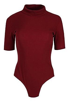 Womens Ladies Ribbed Cap Sleeve Plain Top Bodysuit Polo High Neck Fit  Leotard  Amazon.co.uk  Clothing 86cc7b46e9d7