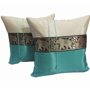 A pair of Beautiful Thai Silk Pillow Covers for decorate Living Room, Bed Room, Sofa, Car / Size 16 X 16 Inches Code 3042 by littlemadamestore [並行輸入品] B01B584J98