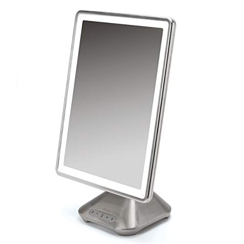 "iHome 10"" x 13"" Reflect PRO Portable, Adjustable Vanity Mirror with Bluetooth Audio, Hands-Free Speakerphone, LED Lighting, Siri & Google Voice Assistant USB Charging, LED Lighting iCVBT10"