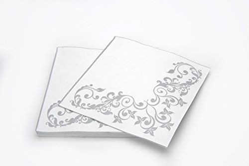 "Simulinen DISPOSABLE Dinner Napkins – DECORATIVE, FANCY, SILVER– Cloth Like Dinner Napkins – Soft, Absorbent & Durable – 16""x16"" – Pack of 50 by Simulinen (Image #7)"
