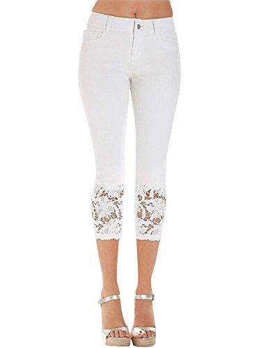 ShallGood Jeans Femme Rtro Taille Haute Skinny 3/4 Pantalons Capri Dentelle Slim Pantalon Jeans Leggings Collant Crayon Casual Pants Blanc