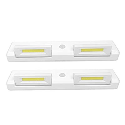 "Seville Classics Adjustable Dual-Head Motion-Activated Stick-On LED Bar 7000K 200 Lumen 3W Battery-Operated Drawer Closet Wall Mount Under-Cabinet Light (Set of 2) 8.7"" L x 1.8"" W White"