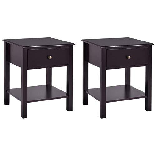 Casart End Table Wood Nightstand Storage Display Bedroom Furniture with Drawer Shelf Beside Brown (2)