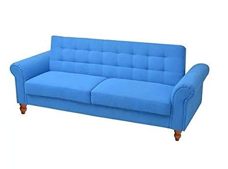 Amazon.com: Convertible Sofa Bed Fabric Blue Comfortable ...