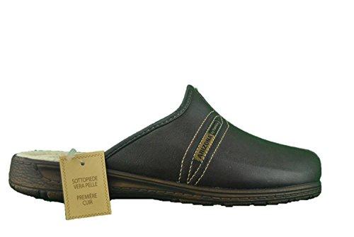 MADE IN ITALY Pantofole ciabatte uomo marrone pelle