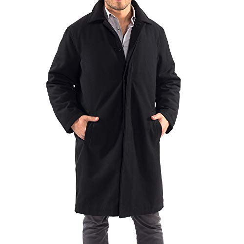 (alpine swiss Zach Mens Wool Trench Coat Knee Length Overcoat Black Med)