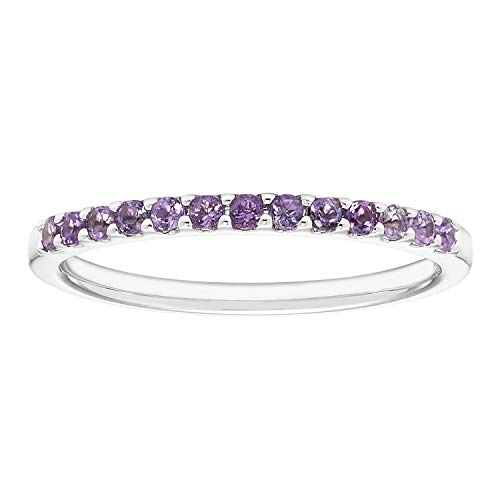 - 14K White Gold 1/5 Cttw Genuine Amethyst Stackable 2MM Wedding Anniversary Band Ring - February Birthstone, Size 7