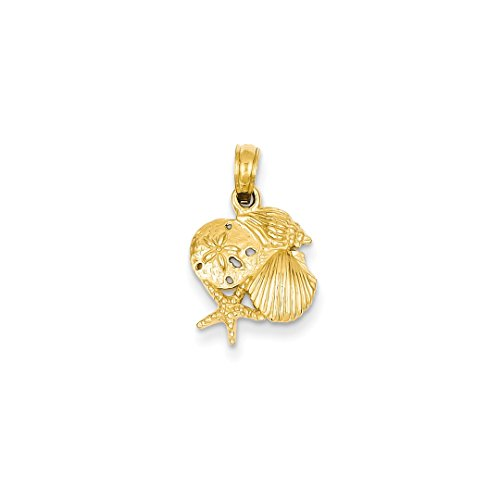 Gold Shell Cluster - ICE CARATS 14kt Yellow Gold Solid Mini Sea Shell Mermaid Nautical Jewelry Cluster Pendant Charm Necklace Shore Fine Jewelry Ideal Gifts For Women Gift Set From Heart