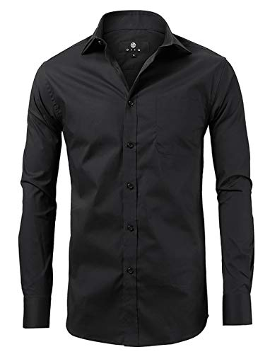 diig Men Slim Fit Long Sleeve Dress Shirt, Black 17