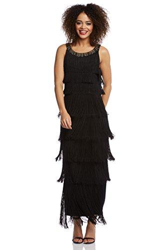 de230550d9b Roman Originals - Robe Longue A Franges Charleston Années 20 Rétro - Noir -  48  Amazon.fr  Vêtements et accessoires