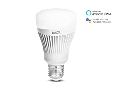 WiZ Whites WiFi connected smart LED A-type E26 bulb. Dimmable, 64,000 shades of white. Works with Amazon Alexa and Google Home.
