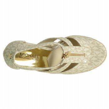 MICHAEL MICHAEL KORS Women's Damita Wedge (Vanilla Mini Mk Logo 8.0 M)