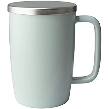 FORLIFE Dew Satin Finish Brew-In-Mug with Basket Infuser & Stainless Lid 18 oz.,Minty Aqua
