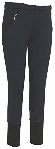TuffRider Kid's Unifleece Pull-On Stretch Fleece Knee Patch Breeches, Navy, 8 Tuffrider Fleece