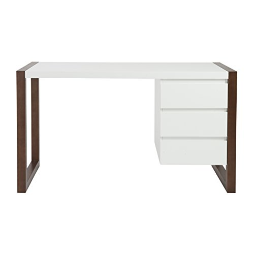 (Eurø Style Manon Matte White Lacquer Finished Desk with Dark Walnut Finish)